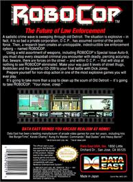 Box back cover for Robocop on the Nintendo NES.