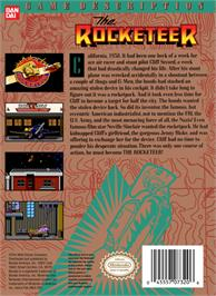 Box back cover for Rocketeer on the Nintendo NES.