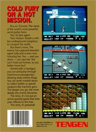 Box back cover for Rolling Thunder on the Nintendo NES.