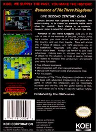 Box back cover for Romance of the Three Kingdoms on the Nintendo NES.