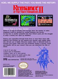 Box back cover for Romance of the Three Kingdoms 2 on the Nintendo NES.