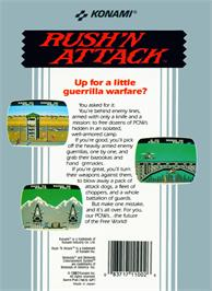 Box back cover for Rush'n Attack on the Nintendo NES.