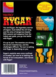 Box back cover for Rygar on the Nintendo NES.