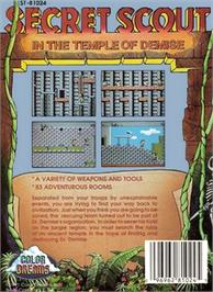 Box back cover for Secret Scout in the Temple of Demise on the Nintendo NES.