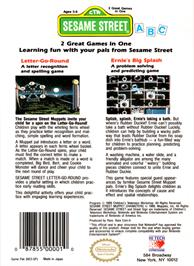 Box back cover for Sesame Street A B C on the Nintendo NES.