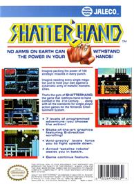 Box back cover for Shatterhand on the Nintendo NES.
