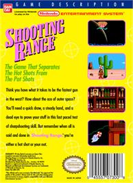 Box back cover for Shooting Range on the Nintendo NES.