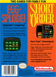 Box back cover for Short Order & Eggsplode on the Nintendo NES.