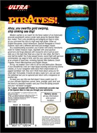 Box back cover for Sid Meier's Pirates on the Nintendo NES.