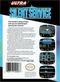 Box back cover for Silent Service on the Nintendo NES.