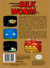 Box back cover for Silk Worm on the Nintendo NES.