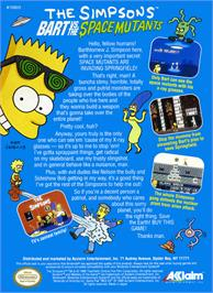 Box back cover for Simpsons: Bart vs. the Space Mutants on the Nintendo NES.