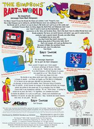 Box back cover for Simpsons: Bart vs. the World on the Nintendo NES.