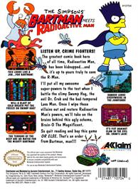 Box back cover for Simpsons: Bartman Meets Radioactive Man on the Nintendo NES.