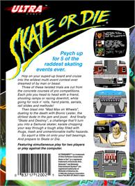 Box back cover for Skate or Die on the Nintendo NES.