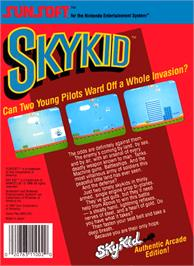 Box back cover for Sky Kid on the Nintendo NES.