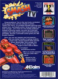 Box back cover for Smash T.V. on the Nintendo NES.