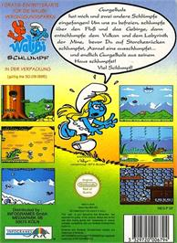 Box back cover for Smurfs on the Nintendo NES.