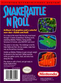 Box back cover for Snake Rattle 'n Roll on the Nintendo NES.