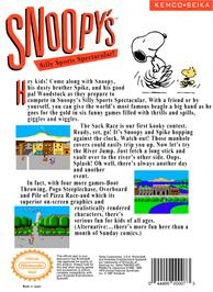 Box back cover for Snoopy's Silly Sports Spectacular on the Nintendo NES.