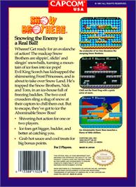 Box back cover for Snow Bros. Nick & Tom on the Nintendo NES.
