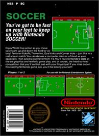 Box back cover for Soccer on the Nintendo NES.