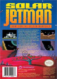 Box back cover for Solar Jetman: Hunt for the Golden Warpship on the Nintendo NES.