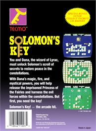 Box back cover for Solomon's Key on the Nintendo NES.