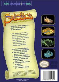 Box back cover for Solstice: The Quest for the Staff of Demnos on the Nintendo NES.