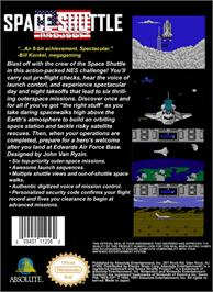 Box back cover for Space Shuttle Project on the Nintendo NES.