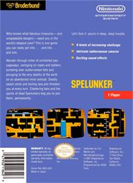 Box back cover for Spelunker on the Nintendo NES.