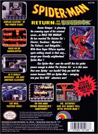 Box back cover for Spider-Man: Return of the Sinister Six on the Nintendo NES.