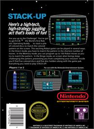 Box back cover for Stack Up on the Nintendo NES.