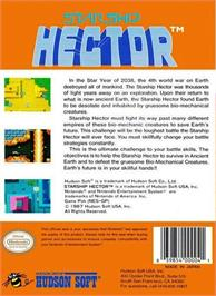 Box back cover for Starship Hector on the Nintendo NES.