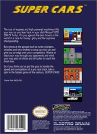 Box back cover for Super Cars on the Nintendo NES.