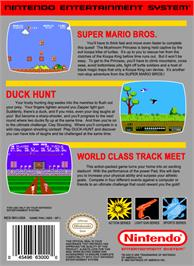 Box back cover for Super Mario Bros, Duck Hunt, & World Class Track Meet on the Nintendo NES.