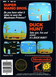 Box back cover for Super Mario Bros.& Duck Hunt on the Nintendo NES.