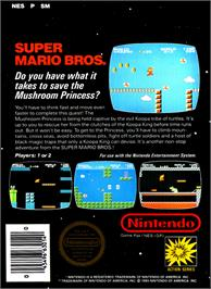 Box back cover for Super Mario Bros. on the Nintendo NES.