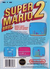 Box back cover for Super Mario Bros. 2 on the Nintendo NES.