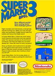Box back cover for Super Mario Bros. 3 on the Nintendo NES.