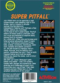 Box back cover for Super Pitfall on the Nintendo NES.