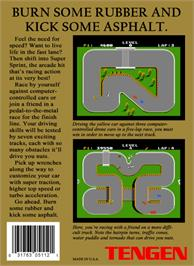 Box back cover for Super Sprint on the Nintendo NES.