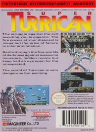 Box back cover for Super Turrican on the Nintendo NES.