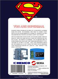 Box back cover for Superman on the Nintendo NES.