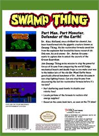 Box back cover for Swamp Thing on the Nintendo NES.