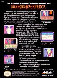 Box back cover for Swords and Serpents on the Nintendo NES.