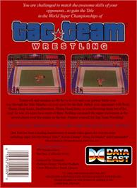Box back cover for Tag Team Wrestling on the Nintendo NES.