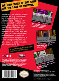 Box back cover for Target Renegade on the Nintendo NES.