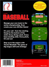 Box back cover for Tecmo Baseball on the Nintendo NES.