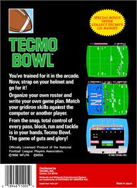 Box back cover for Tecmo Bowl on the Nintendo NES.